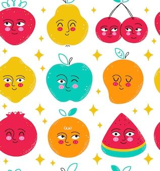 かわいい果物のシームレスなパターン