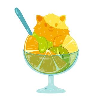 오렌지 키위 레몬 감귤 빙수를 곁들인 귀여운 과일 아이스크림 고양이 달콤한 음식 개념