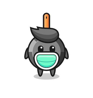 Cute frying pan cartoon wearing a mask , cute style design for t shirt, sticker, logo element