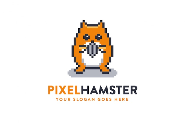 Cute and fun mascot hamster logo icon with pixel bit style