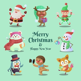 Cute and fun merry christmas and happy new year characters collection