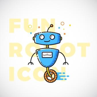 Симпатичные весело робот иллюстрации. контур плоский стиль. технологический символ. наука войдите в яркие цвета.