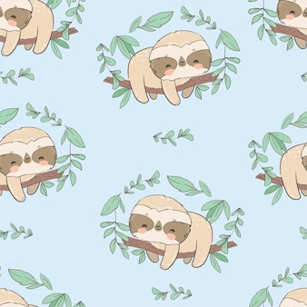 Cute fun sloths on a branch with leaves seamless pattern