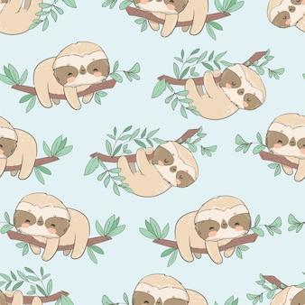 Симпатичные забавные ленивцы на ветке с листьями бесшовные модели