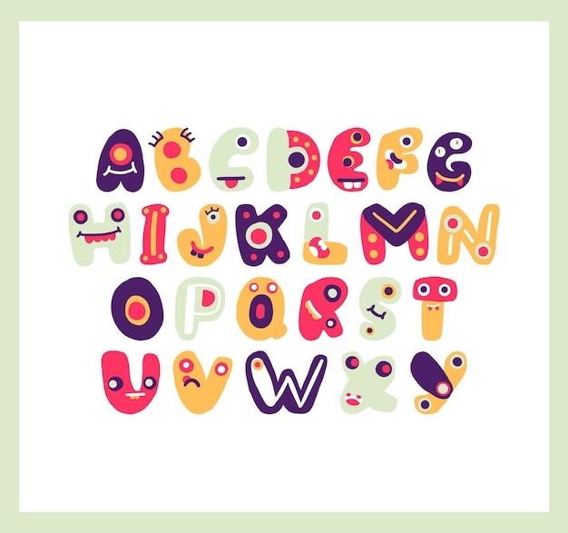 かわいいファンキーな文字アルファベットカラフルで遊び心のある文字