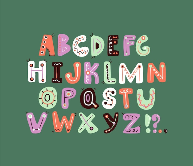 Cute funky letter alphabet  colorful and playful letter