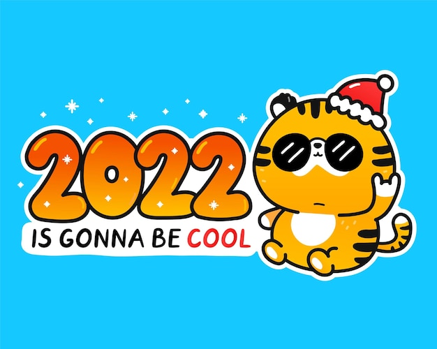 かわいい面白い2022年のシンボルタイガークールなキャラクター。2022年はクールなスローガンになるだろう。ベクトル漫画落書きかわいいキャラクターイラストバナー。タイガーアジア、新年の文字の概念の中国のシンボル