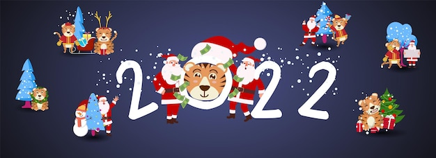 Cute funny 2022 new year symbol tiger. happy chinese new year greeting card 2022 with cute tiger. animal holidays cartoon character.