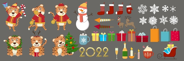Cute funny 2022 new year symbol tiger. vector cartoon kawaii character illustration icon. happy chinese new year greeting card 2022 with cute tiger. animal holidays cartoon character.