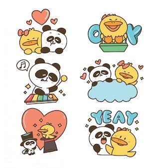 Милый забавный очаровательный утка и панда малыш