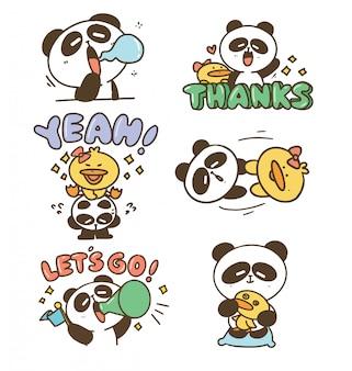 귀여운 재미 있은 귀여운 오리와 팬더 아이