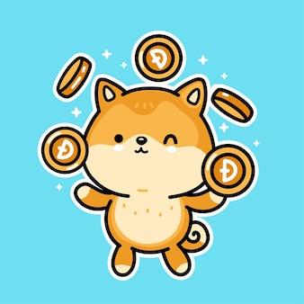 Симпатичная забавная собака акита-ину жонглирует золотыми монетами dogecoin