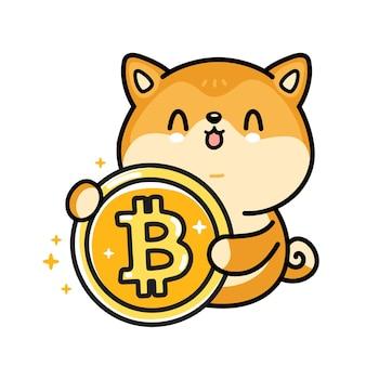Cute funny akita inu dog with bitcoin coin. vector hand drawn cartoon kawaii character illustration. crypto currency, dogecoin,bitcoin coin cartoon character concept