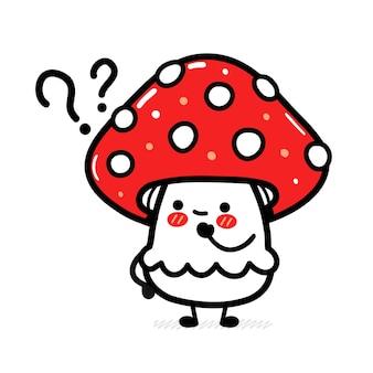 Милый забавный гриб мухомор с вопросительными знаками