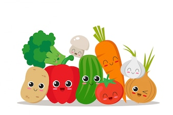 Cute, funny and happy vegetables