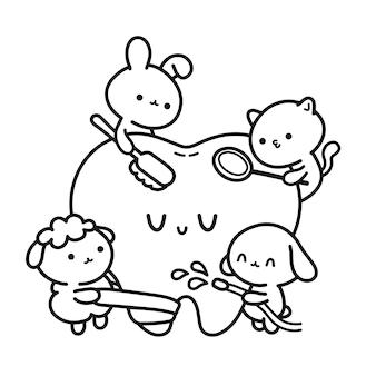 塗り絵のために患者の歯のページを掃除するかわいい面白い動物の歯科医。ベクトル手描き漫画かわいいキャラクターイラストアイコン。子犬の犬、キティ猫、子羊、ウサギのきれいな歯の子供の概念