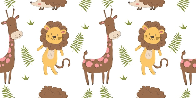 Cute and funny animals seamless pattern