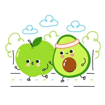 Милое смешное яблоко и авокадо бегают