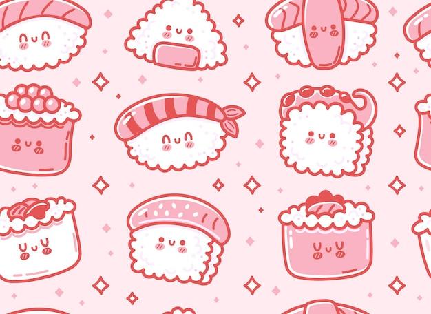 かわいい面白いアジアの日本の寿司キャラクターのシームレスなパターン。ベクトル手描き漫画かわいいキャラクターイラストアイコン。かわいいカワイイ寿司、ロール、日本アジア食品漫画シームレスパターンコンセプト