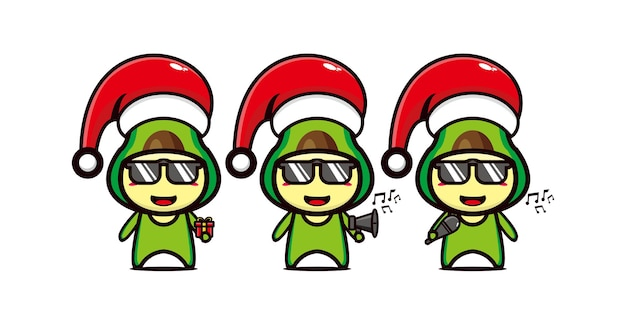 Симпатичный забавный персонаж авокадо в рождественской шапке вектор плоская линия каваи мультипликационный персонаж