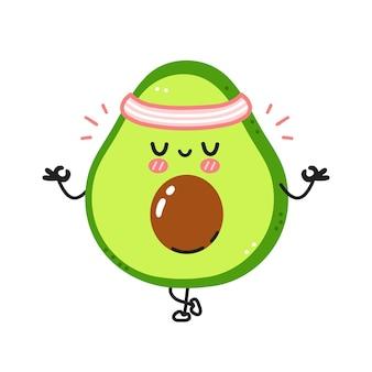 Симпатичные забавные авокадо медитируют в позе йоги.