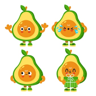 Cute funny avocado with baby face