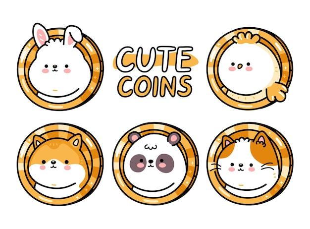귀여운 재미있는 아기 동물 동전 세트입니다. 벡터 손으로 그린 만화 귀여운 캐릭터 그림입니다. 흰색 배경에 고립. 개, 고양이, 새, 팬더, 고양이, 토끼 코인 캐릭터 번들 컬렉션 컨셉