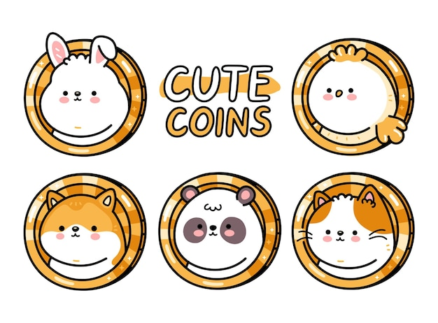 Cute funny baby animals coins set. vector hand drawn cartoon kawaii character illustration. isolated on white backgroud. dog,cat,bird,panda,cat,bunny coin character bundle collection concept