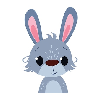 Милый забавный малыш кролик портрет иллюстрация для печати детских открыток или одежды клипарт