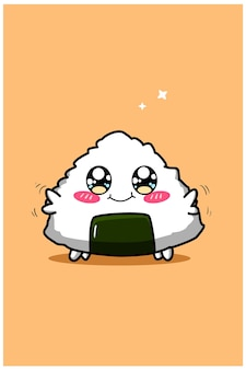Cute and funny baby sushi cartoon illustration