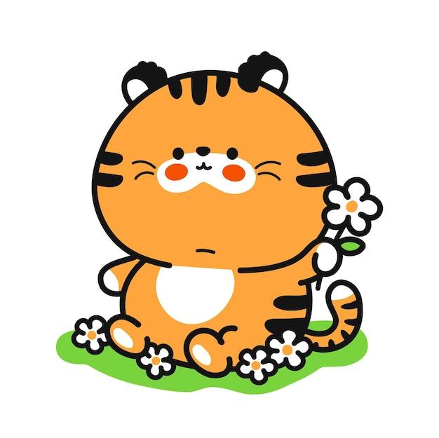 Милый забавный тигренок с цветочным характером. вектор рисованной мультяшный каваи символ иллюстрации значок. изолированные на белом фоне. милый тигр на траве мультфильм талисман концепции