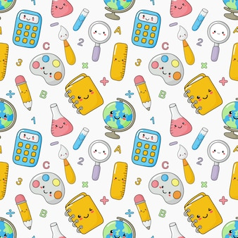 Cute funny back to school seamless pattern. school supplies. education