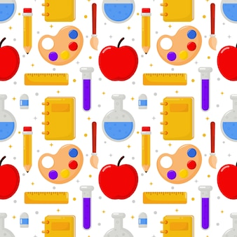 Cute funny back to school seamless pattern