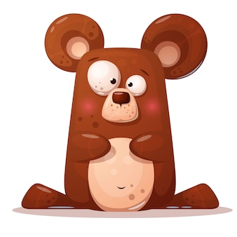 Cute, funny bear illustration. animal character