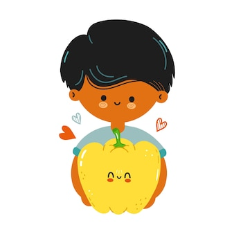 Cute funny black boy hold bell pepper in hand