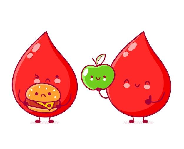 健康と不健康な食べ物でかわいい面白い血のドロップ。フラットライン漫画カワイイキャラクターイラスト。白い背景で隔離