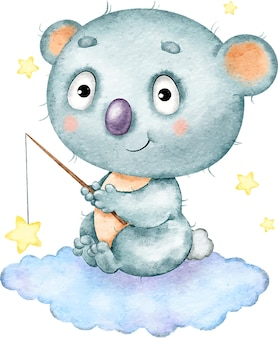 Cute funny blue textured koala sitting on a cloud and catching stars painted in watercolor