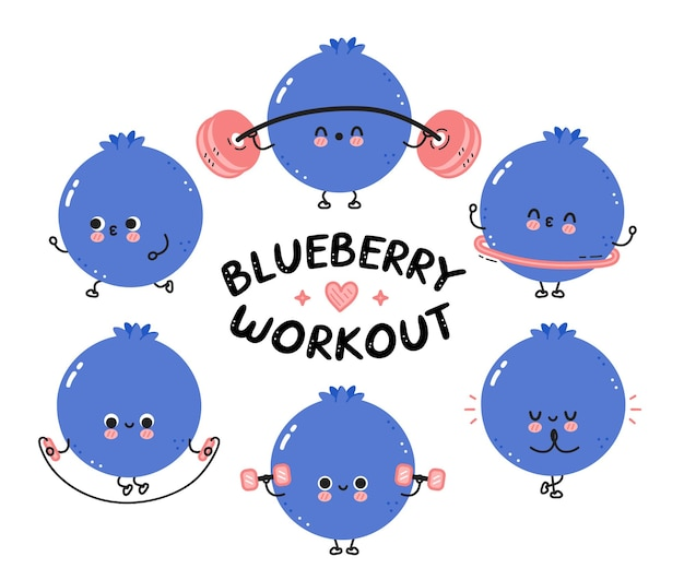 Cute funny blueberry berry make gym set collection