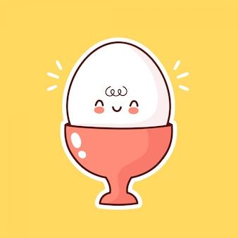 カップでかわいい面白いゆで卵。漫画キャラクターイラストアイコンデザイン