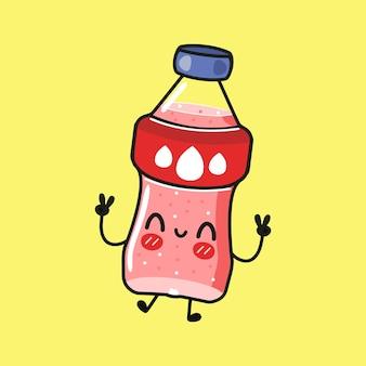 ピンクのソーダキャラクターのかわいい面白いボトル