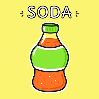 Cute funny bottle of soda character