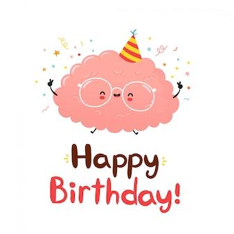 Милый забавный мозг. с днем рождения рисованной стиль карты. плоский мультфильм характер иллюстрации дизайн иконок. изолированные