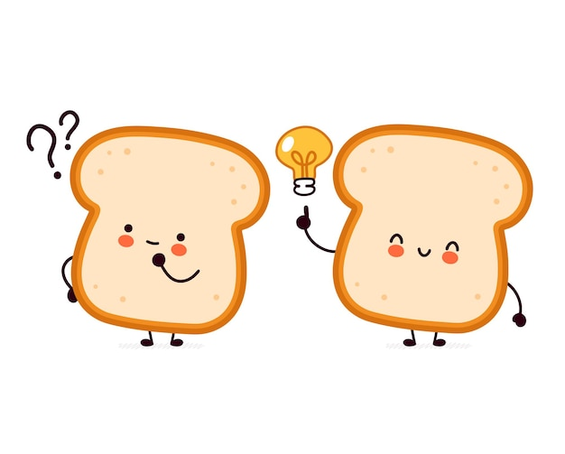 Cute funny bread toast character with question mark and idea lightbulb. Premium Vector