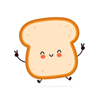 Cute funny bread toast character Premium Vector