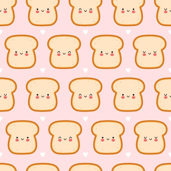 Cute funny bread toast seamless pattern.