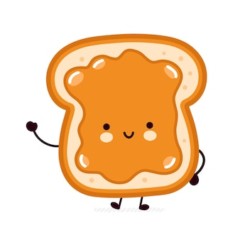 Cute funny bread toast with peanut butter character Premium Vector