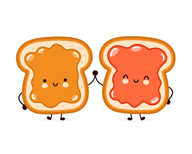 Cute funny bread toast with peanut butter and jam character. Premium Vector