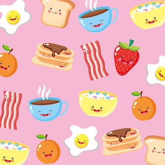 Cute and funny breakfast icons pattern background