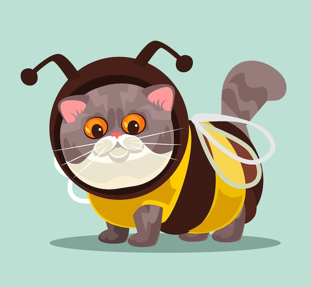 Cute funny british cat in bee costume suit fashion modern style for domestic animals concept isolated cartoon illustration
