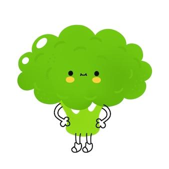 Милый забавный овощ брокколи с лицом